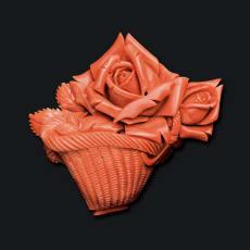 大倉珊瑚店/ユキコ・オオクラ K18 珊瑚 花籠 帯留めブローチ