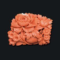 大倉珊瑚店 K18 珊瑚 牡丹 帯留めブローチ