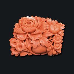 大倉珊瑚店/ユキコ・オオクラ  K18 珊瑚 牡丹 帯留めブローチ