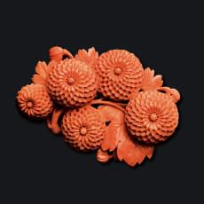 大倉珊瑚店 珊瑚 彫板 ポンポン菊