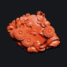 大倉珊瑚店/ユキコ・オオクラ  珊瑚 彫板 蝶 ポンポン菊