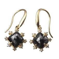 K10 2.3ctブラックダイヤ デザイン ピアス