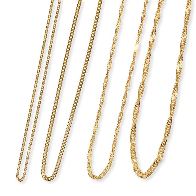 純金 ネックレス 左から 10g(ア)喜平、30g(ア)喜平、10g(イ)スクリュー、30g(イ)スクリュー