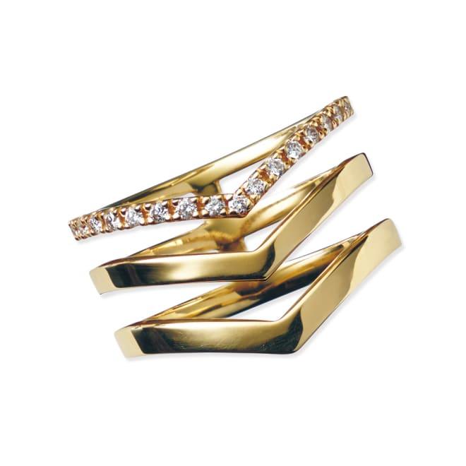 K10 0.15ctダイヤ デザインリング (ア)YG