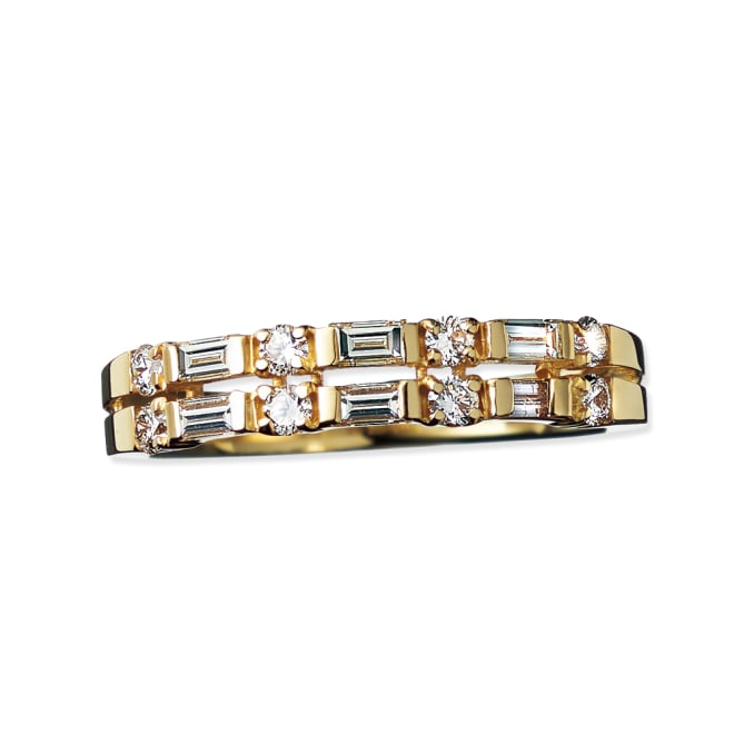 K18 0.5ctバゲットダイヤ デザインリング (ア)YG