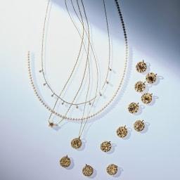 K18 0.5ct ダイヤフリンジネックレス コーディネート例