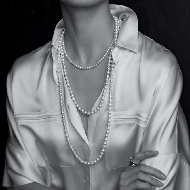 8mm アコヤ ナチュラルホワイトパール ネックレス 上から 【60cm】【80cm】着用例 ※一番上のネックレスは別売りの商品です。