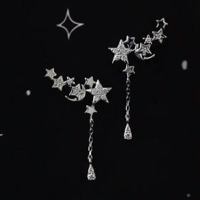 K18 0.2ctダイヤ 星モチーフ ピアス 写真
