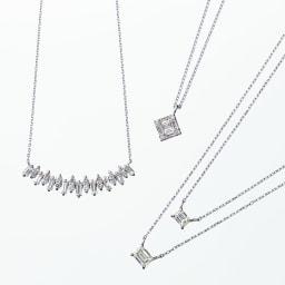 Pt 0.2ctバゲットダイヤ ペンダント バゲットダイヤ シリーズ ※右の同シリーズのペンダントは、外側:0.4ctダイヤ(商品番号:J343-81)、内側:0.2ctダイヤです。
