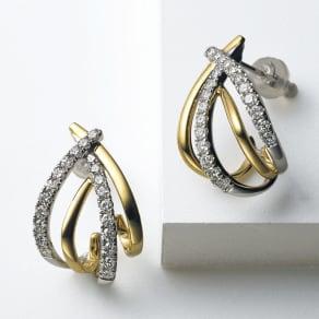 K18 0.5ctダイヤ デザイン ピアス 写真