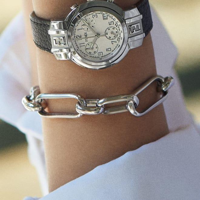 entiere/アンティエーレ SV デザイン ブレスレット(イタリア製) 着用例 ※時計は別売りです。