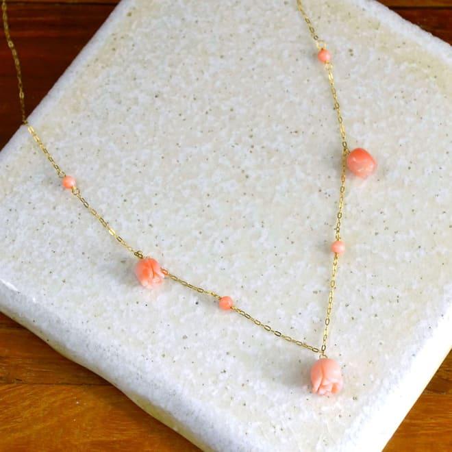 YUKIKO OKURA/ユキコ・オオクラ K18 深海珊瑚 薔薇 ネックレス