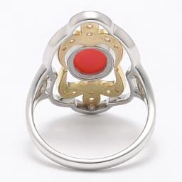 Pt・K18 赤珊瑚 0.2ct ダイヤ リング INSIDE