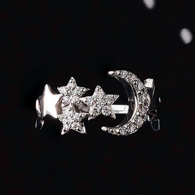 K18WG 0.15ctダイヤ 三日月モチーフ ピンキーリング