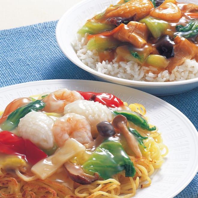 海鮮と野菜の中華丼 (2種×5袋 計10袋) 【盛り付け例】 湯煎で温めていただき、ごはんや中華麺、やきそばなどでもおいしくいただけます。何にでも使える商品です。