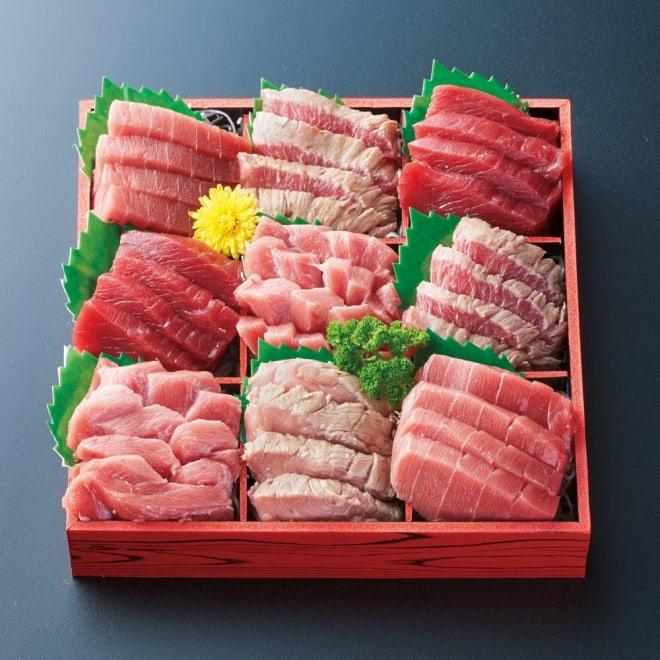 「吉川水産」 本まぐろお刺身&希少部位セット 【1月1日お届け】 吉川水産の目利き人がオススメする贅沢なまぐろのお刺身です。希少部位のホホ肉、さらには頭肉まで入った贅沢なお刺身セットです。