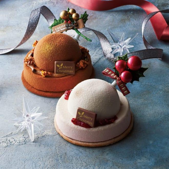 【ディノス限定】 「Patisserie moa(パティスリーモア)」 クリスマスケーキ・デュオ (直径約10cm×2個) 【クリスマスお届け】 ころんとした可愛らしいドーム型のチョコレートケーキ。ディノス限定・数量限定でご用意しました!