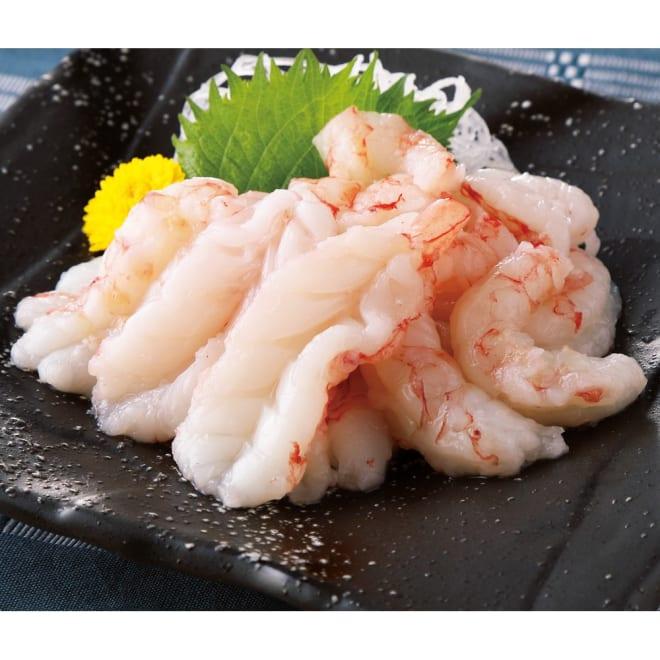お刺身でも食べられる赤えび(むき身) (500g×2袋) 【盛り付け例】お刺身でも食べられ、お料理にもつかえる便利品です。