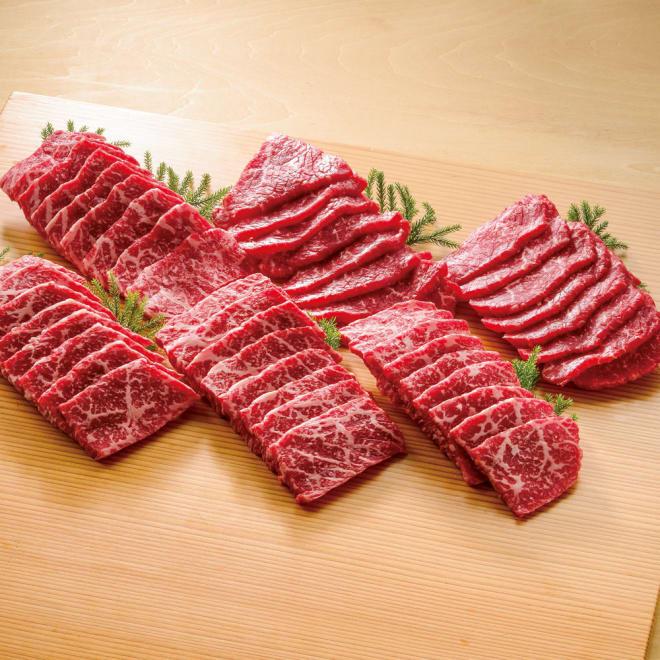 ブランド和牛6種 食べ比べ焼肉セット (6種計600g) 【盛付例】左上から時計回りに、佐賀牛、熊野牛、宮崎牛、神戸ビーフ、近江牛、松阪牛