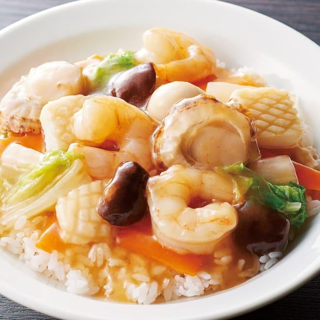 大粒シーフードミックス (1kg) 【調理例】大ぶりなシーフードが中華丼を際立てます。