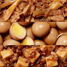 イザメシCAN 12缶セット 甘辛仕立ての牛肉のやわらか煮、ほんのり甘いうずらの煮卵、花山椒香る麻婆豆腐