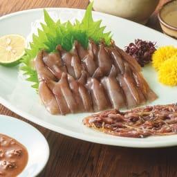 肝醤油で食べるほたるいかのお刺身 【盛り付け例】日本海のほたるいかを肝醤油でどうぞ。