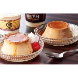 「丸福珈琲店」 名物プリン&珈琲プリンセット (12個) 【通常お届け】 左から、名物のカスタードプリン、珈琲プリン。お好みでホイップクリームやさくらんぼも添えて、とことんレトロに。