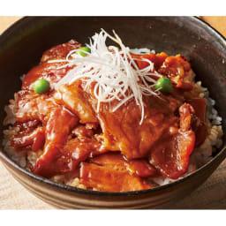 十勝名物 炭火焼豚丼の具(もも肉) (100g×6袋) 【盛り付け例】 炭火焼の香りがたまらない!味付けもも肉は食べごたえあり!