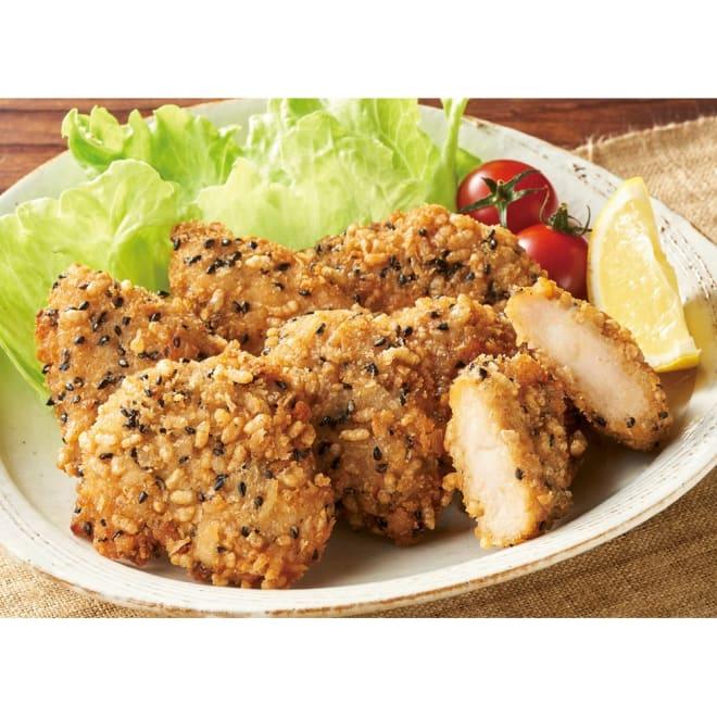 フライパンでサクサク黒ごま玄米ささみ揚げ (200g×6袋) 【盛り付け例】 国産の鶏ささみをフライパンでサクサク香ばしく。