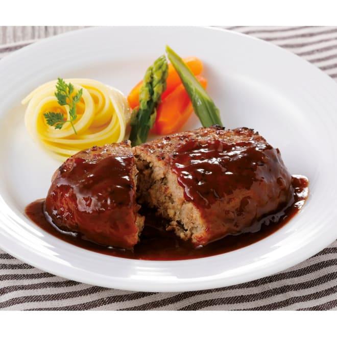 「キッチン飛騨」 ふっくらハンバーグ (6個) 【盛り付け例】湯煎で温めハンバーグソースをかけて出来上がり!ごはんのおかずにピッタリです。
