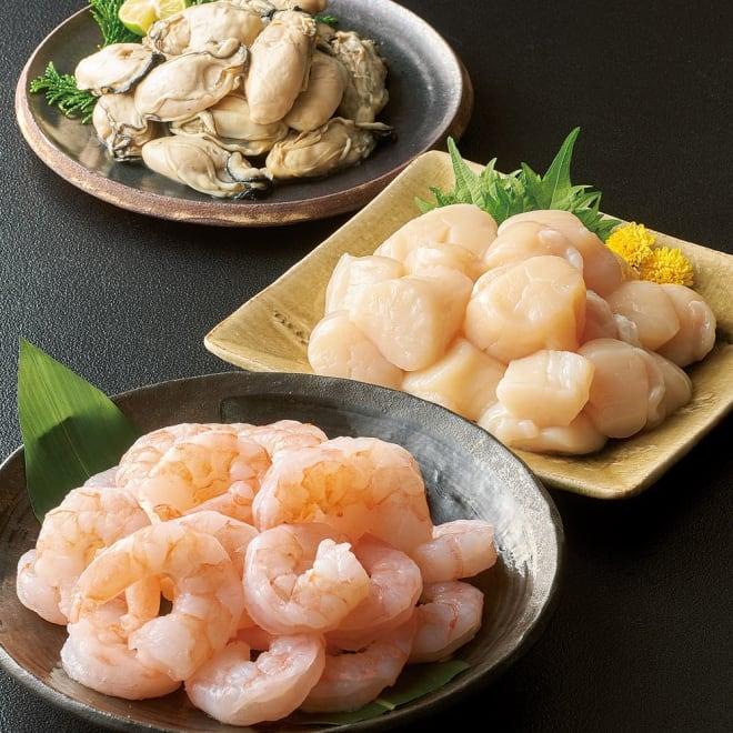 冷凍水産品3種セット 【盛り付け例】ふっくら牡蠣にプリプリ海老 甘みのある帆立をバラ凍結