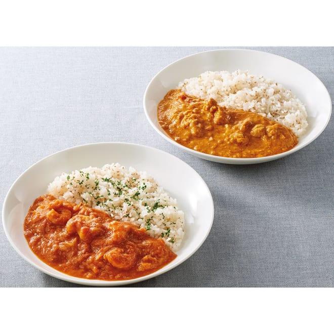 Soup Stock Tokyo(スープストックトーキョー) 夏の8種人気カレーセット 【盛り付け例】玉ねぎの甘さが特徴。玉葱と鶏肉のカレー。 海老の旨味が広がるマイルドな海老のフレンチカレー。