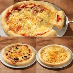 「リストランテ・マッサ」監修 3種のナポリ風ピッツァ (計6枚) 上)ピッツァマルゲリータ 左)ボロネーゼピッツァ 右)黒トリュフと4種のチーズのピッツァ
