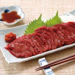 会津の国産馬刺しセット (150g×3パック) 【通常お届け】 【盛り付け例】やわらかくさっぱりした会津の国産馬刺しです。