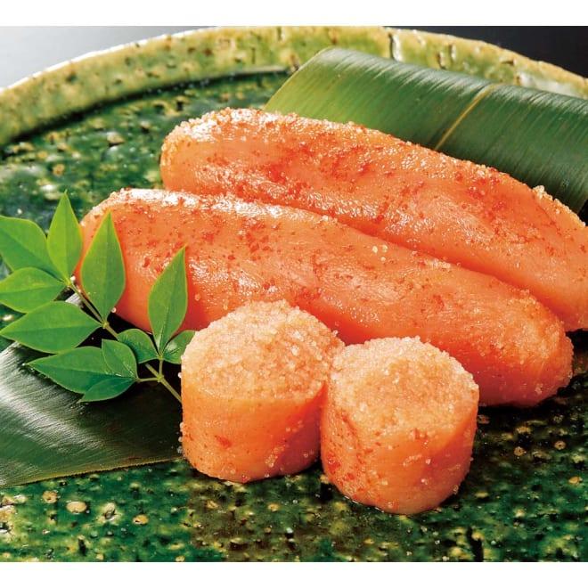 「かねふく」 北海道産 辛子明太子 上切れ子 (700g) 盛り付け例:完熟卵をじっくり熟成させた明太子です。ごはんのお供にぴったりな一品です。