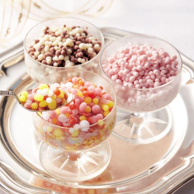 つぶつぶアイス 「ミニメルツ」 9個セット 【盛り付け例】左上から時計回りに チョコバニラ、ストロベリー、レインボー