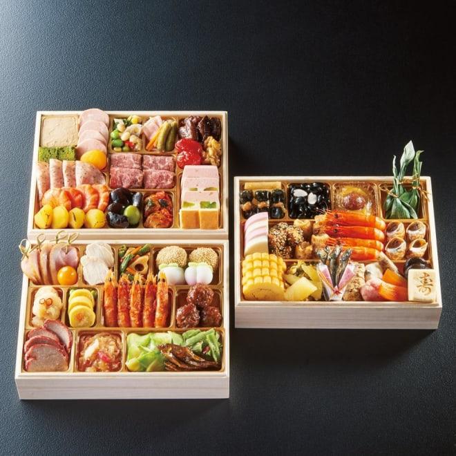 神楽坂 三店コラボ和洋中おせち 三段重 約3~4人前 お重のサイズ:縦19.4cm×横25.4cm×高さ5.5cm×3段