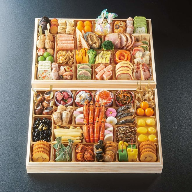 ふく吉 お集まりおせち「祭り膳」 約6~8人前 お重のサイズ:縦28.6cm×横42.0cm×高さ5.1cm×2段