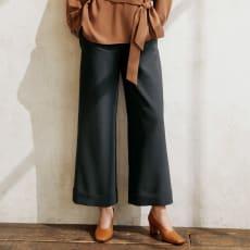 ストレッチオックス 裾ダブル ワイドパンツ