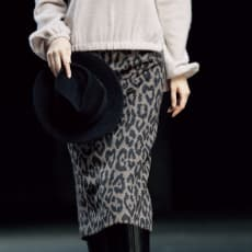 イタリア素材 アルパカ混シャギー レオパード スカート