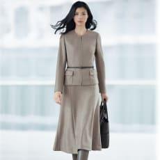 イタリア素材 ウールジャージー スーツセット(ジャケット+スカート)