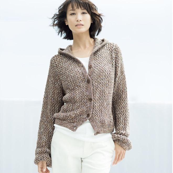 イタリア糸 リリヤーン メッシュ編み フーデッド カーディガン 着用例