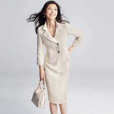 「EFILAN」 イタリア素材 ツイード スーツセット(ジャケット+スカート)