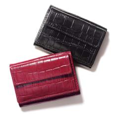 クロコ型押し コンパクト 三つ折り財布