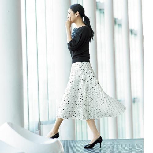 ドットプリント フレアー&プリーツ スカート 画像