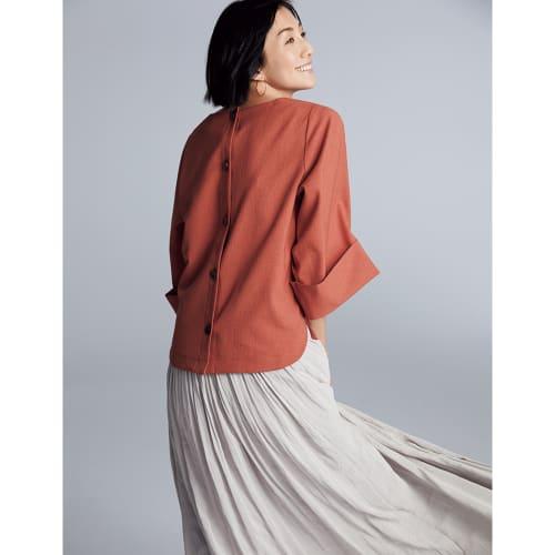 リネン風合繊素材 ダブルカフス袖 プルオーバー 画像