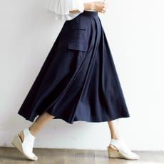 リネン混 カーゴ風ポケット付き タック フレアースカート