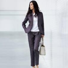イタリア素材 リネン混 シャンブレー スーツセット(ジャケット+パンツ)