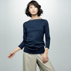 スビン綿 ボートネック 七分袖 Tシャツ 写真