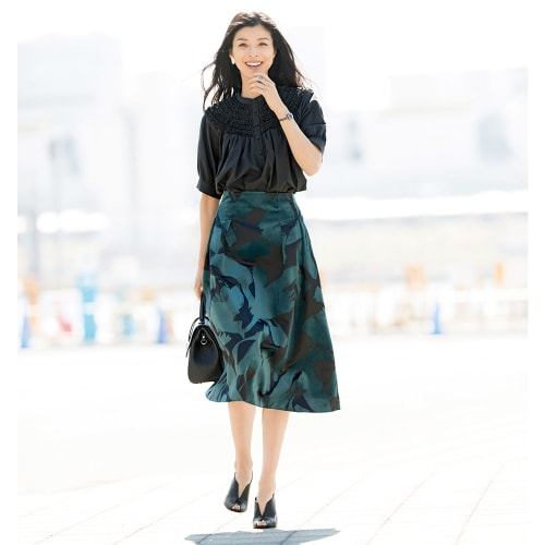 フラワー フロッキープリント フレアースカート 画像